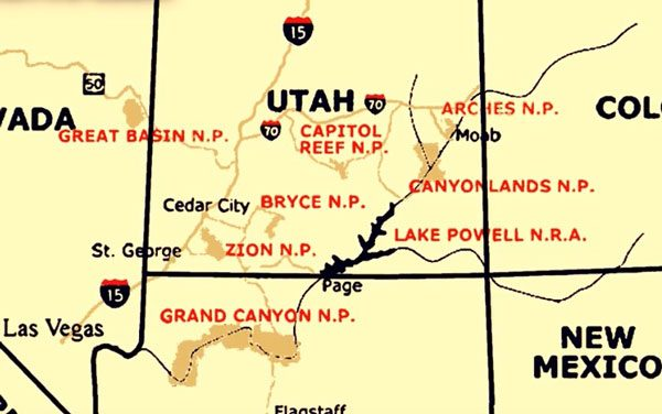 mapa Zion park y Bryce Canyon
